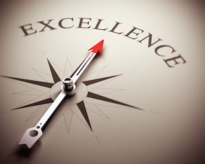 Arrow of compas pointing to Excellence