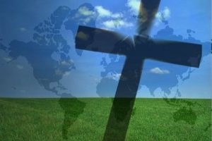 cross on the map of the world